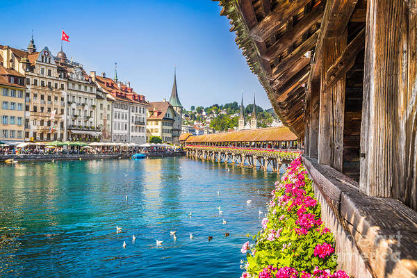 Chapel Bridge Photograph - Historic Town Of Lucerne by JR Photography