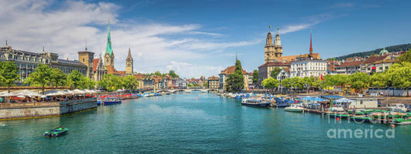 Zuerich Wall Art - Photograph - Zurich Skyline Panorama by JR Photography