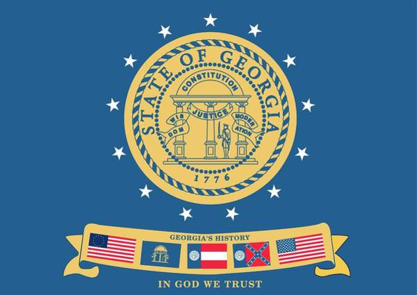 Southern Pride Wall Art - Photograph - Historical Flag Of Georgia by American School