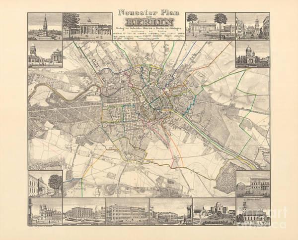 Drawing - Historical Map Of Berlin, 1838 by German School