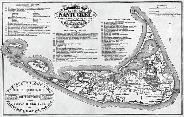 Digital Art - Historical Map Of Nantucket From 1602-1886 Black And White by Toby McGuire
