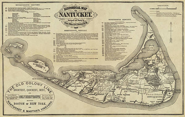 Digital Art - Historical Map Of Nantucket From 1602-1886 by Toby McGuire