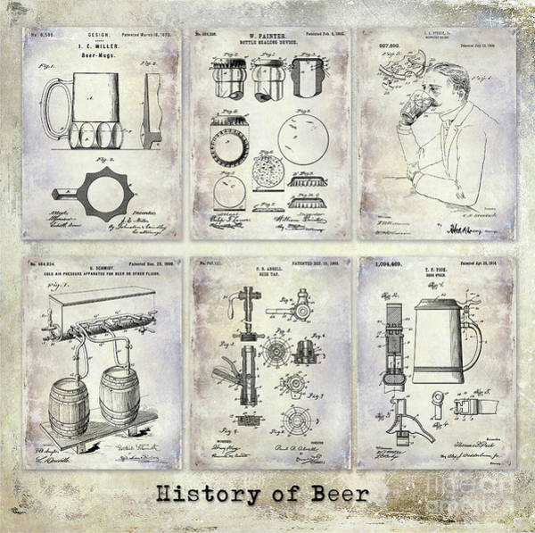 Brewing Photograph - History Of Beer Patents by Jon Neidert