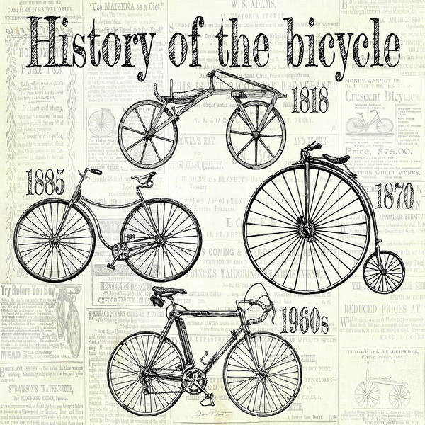 Advertisement Digital Art - History Of The Bicycle A by Jean Plout