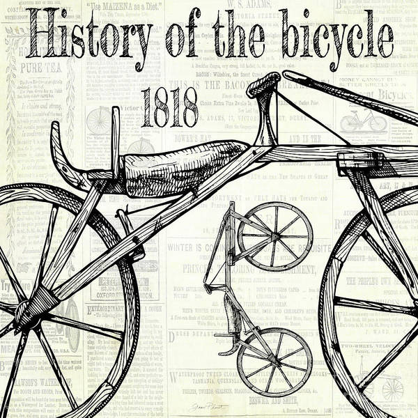 Advertisement Digital Art - History Of The Bicycle B by Jean Plout