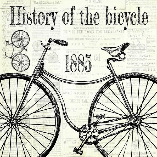 Advertisement Digital Art - History Of The Bicycle C by Jean Plout