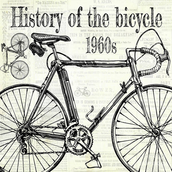 Advertisement Digital Art - History Of The Bicycle E by Jean Plout