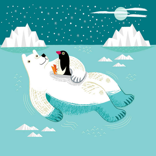 Penguin Wall Art - Digital Art - Hitching A Ride by Oliver Lake