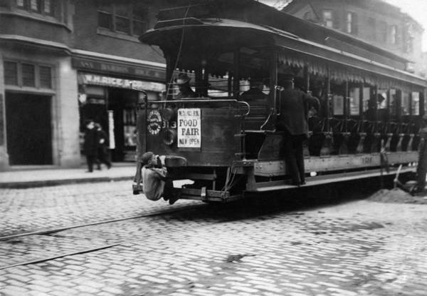 Wall Art - Photograph - Hitching A Ride On The Trolley - Boston - 1909 by War Is Hell Store