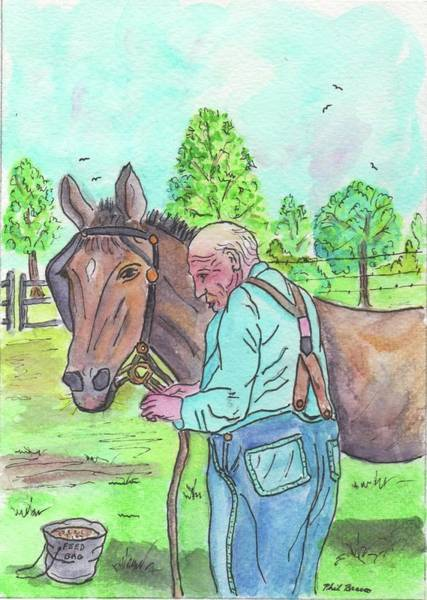 Painting - Hitching Up The Mule by Philip Bracco