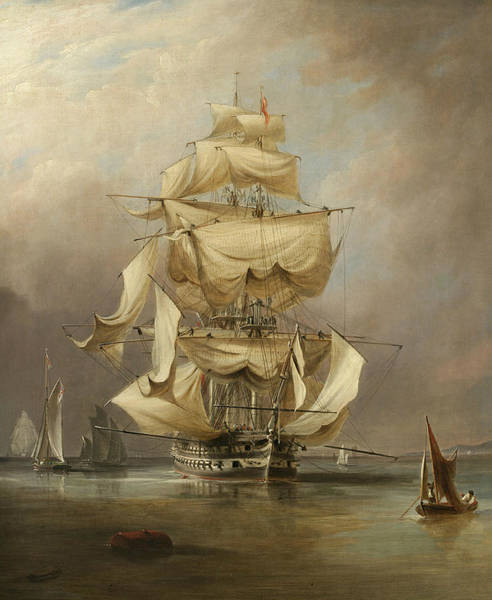 Painting - H.m.s. Asia Taking In Her Sails by Richard Brydges Beechey