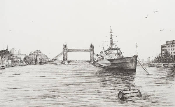 River Bank Drawing - Hms Belfast On The River Thames by Vincent Alexander Booth