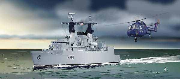 The Falklands Digital Art - Hms Broadsword by Mike Turton