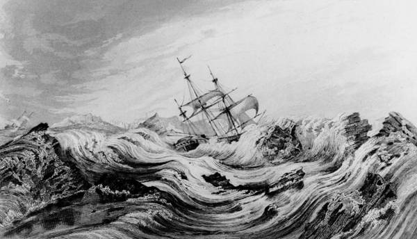 Print Drawing - Hms Dorothea Commanded By David Buchan Driven Into Arctic Ice by English School