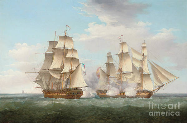 Galleons Wall Art - Painting - Hms Ethalion In Action With The Spanish Frigate Thetis Off Cape Finisterre by Thomas Whitcombe