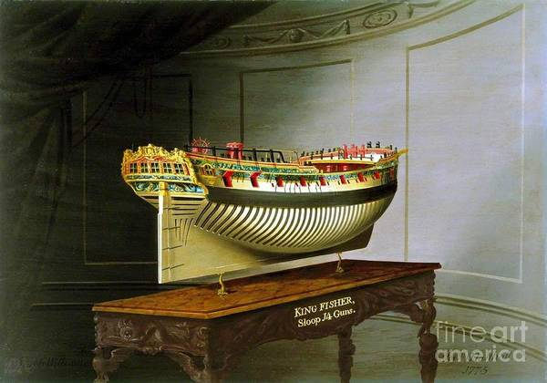 Wall Art - Painting - Hms Kingfisher Stern by Richard John Holden RA