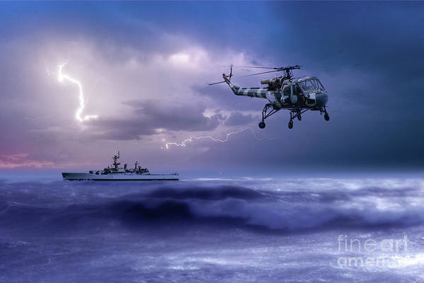 The Falklands Digital Art - Hms Leander And The Wasp by J Biggadike