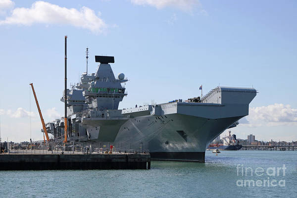 Photograph - Hms Queen Elizabeth Aircraft Carrier At Portmouth Harbour by Julia Gavin