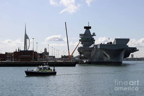 Photograph - Hms Queen Elizabeth At Portmouth Harbour by Julia Gavin