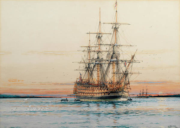 Mooring Painting - H.m.s. Sandwich Laying Her Mooring At Sunset by Jack Spurling