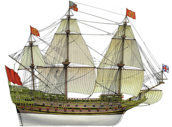 Wall Art - Drawing - Hms Sovereign Of The Seas by The Collectioner