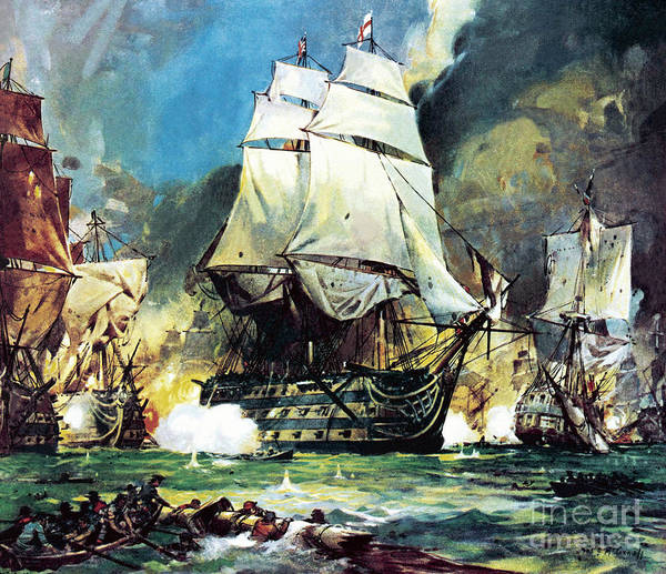 Wall Art - Painting - Hms Victory At The Battle Of Trafalgar by James Edwin McConnell