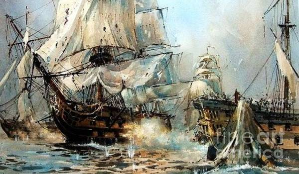Wall Art - Painting - Hms Victory Dismasting Bucentaure by Richard John Holden RA