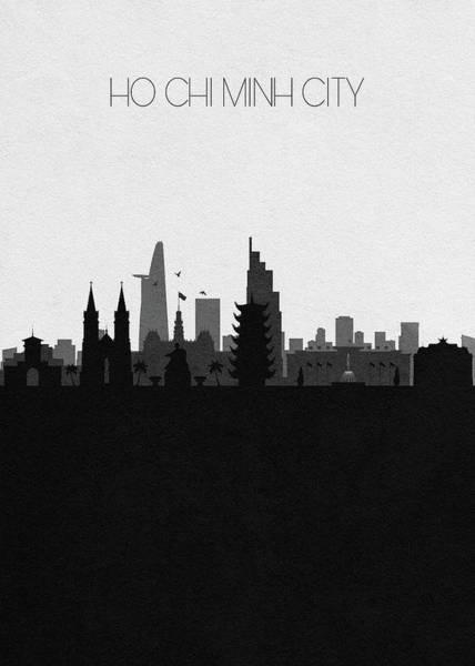 Souvenir Digital Art - Ho Chi Minh City Cityscape Art by Inspirowl Design