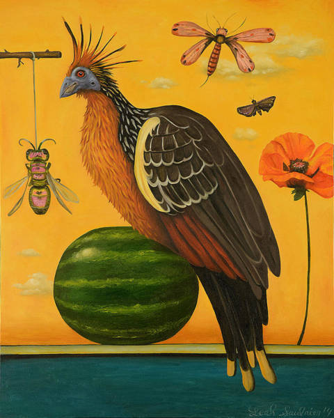 Wall Art - Painting - Hoatzin 2 by Leah Saulnier The Painting Maniac