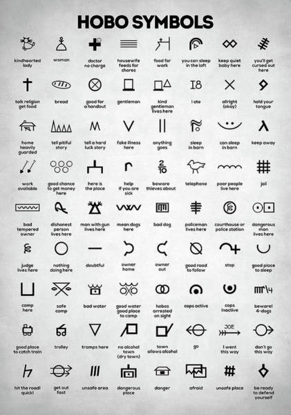 Wall Art - Digital Art - Hobo Symbols by Zapista Zapista