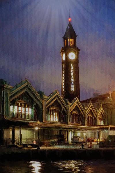 Wall Art - Digital Art - Hoboken Lacawanna Clock In Moon Light by Sue Schwer