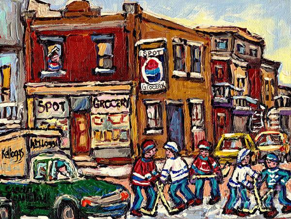 Painting - Hockey Art Montreal Memories Spot Grocery Original Canadian Painting Winter Scenes Carole Spandau by Carole Spandau