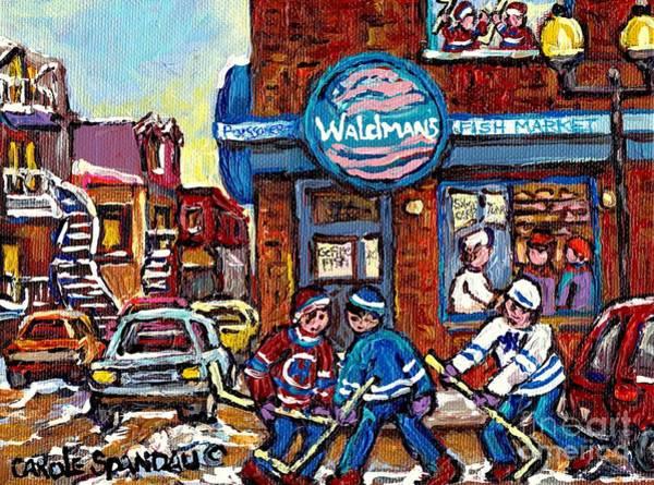 Painting - Hockey Art Montreal Memories Waldman's Fish Market Streets Of The Plateau Quebec Carole Spandau by Carole Spandau