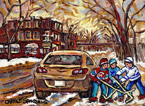 Pointe St Charles Painting - Hockey Art Original Canadian Paintings Streets Of Montreal Winter Scene In The Pointe Carole Spandau by Carole Spandau