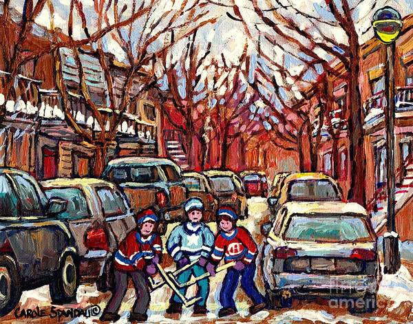 Painting - Hockey Art Winter Scene Painting After The Snow Streets Of Pointe St Charles Art Carole Spandau by Carole Spandau