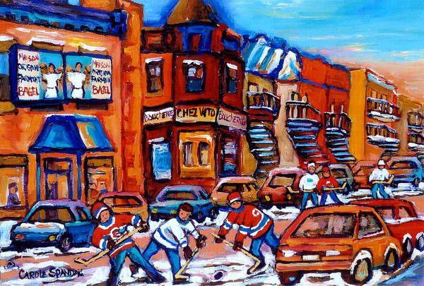 Painting - Hockey At Fairmount Bagel by Carole Spandau