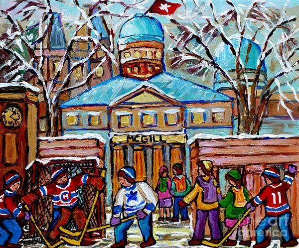 Painting - Hockey Game At Roddick Gates Mcgill University Rue Sherbrooke Winter Scene Carole Spandau Paintings  by Carole Spandau