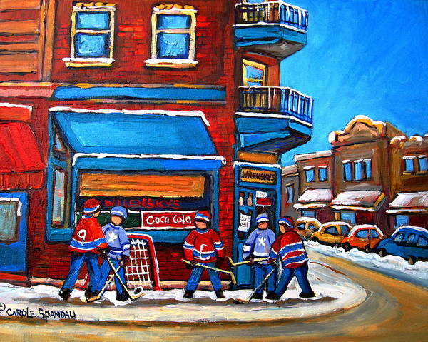 Painting - Hockey Game At Wilensky's by Carole Spandau
