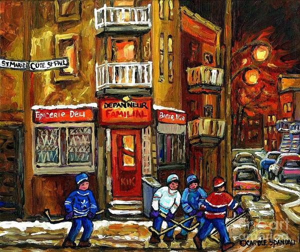 Painting - Hockey Game This Evening At Depanneur Familiale In Ville Emard Montreal Best Canadian Hockey Art by Carole Spandau