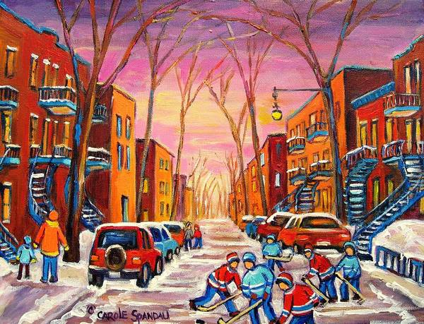 Old Montreal Painting - Hockey On Hotel De Ville Street by Carole Spandau