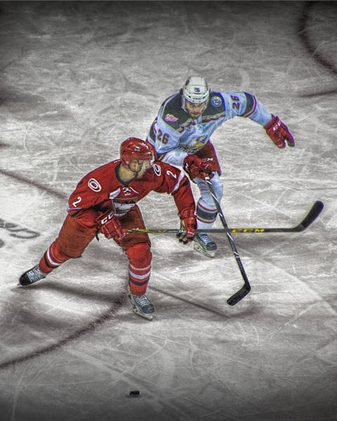 Photograph - Hockey Players Battling It Out Over The Puck by Randall Nyhof