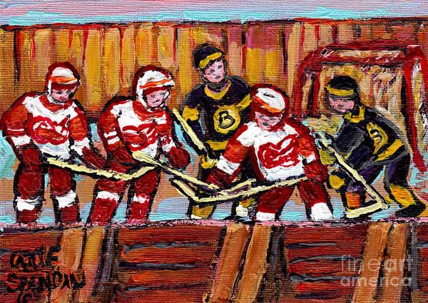 Painting - Hockey Rink Painting Boston Bruins Vs Detroit Red Wings Original Six Teams Hockey Art Carole Spandau by Carole Spandau
