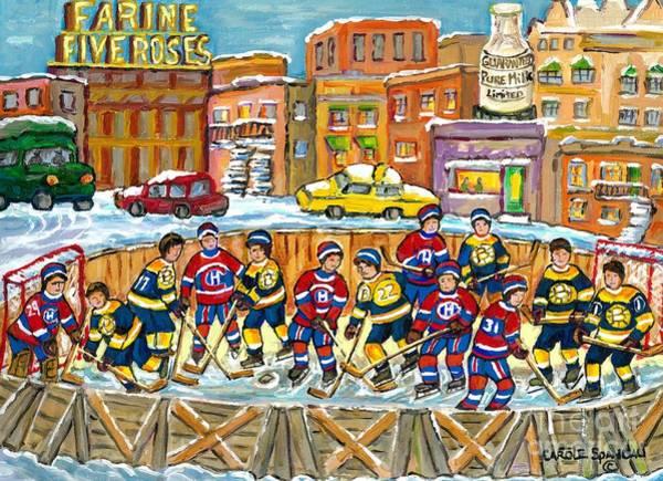 Painting - Hockey Rink Painting Boston Vs Montreal 1979 Cityscene Five Roses And Milk Bottle Skyline C Spandau by Carole Spandau