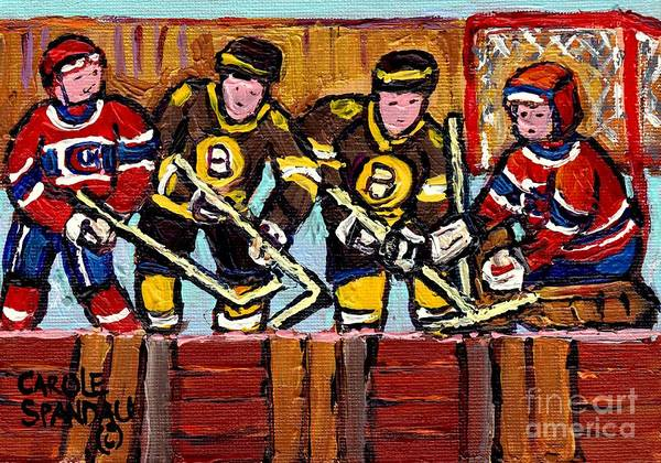 Painting - Hockey Rink Paintings Boston Bruins Vs Canadiens Original Six Teams Quebec Hockey Art Carole Spandau by Carole Spandau