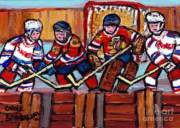 Pointe St Charles Painting - Hockey Rink Paintings New York Rangers Vs Chicago Black Hawks Original Six Hockey Art Carole Spandau by Carole Spandau