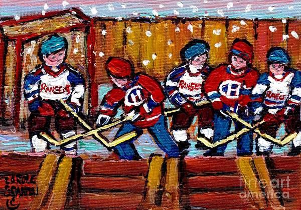 Painting - Hockey Rink Paintings New York Rangers Vs Habs Original Six Teams Hockey Winter Scene Carole Spandau by Carole Spandau