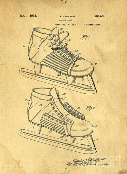 Wall Art - Digital Art - Hockey Skates Patent Art Blueprint Drawing by Edward Fielding