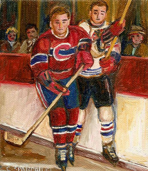 Painting - Hockey Stars At The Forum by Carole Spandau