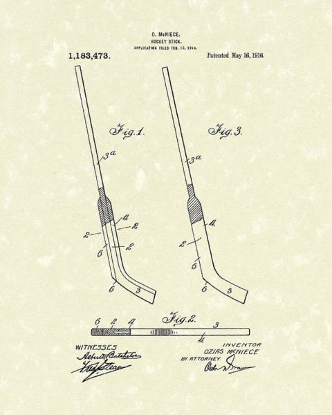 Drawing - Hockey Stick Mcniece 1916 Patent Art by Prior Art Design