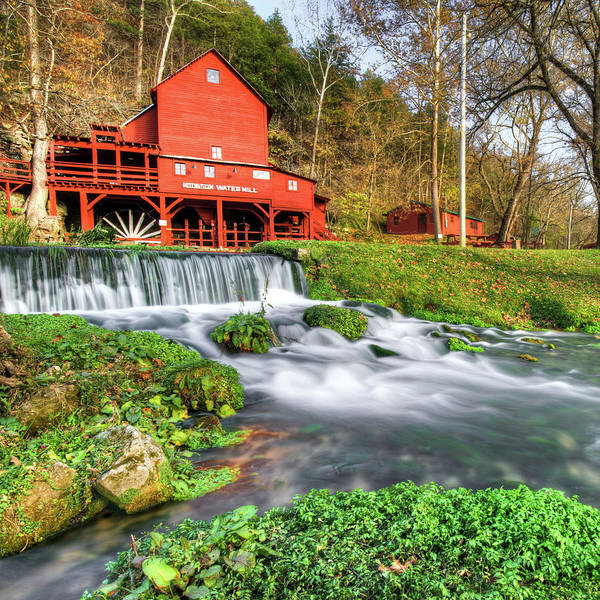 Photograph - Hodgson Water Mill - Missouri - Square Format by Gregory Ballos